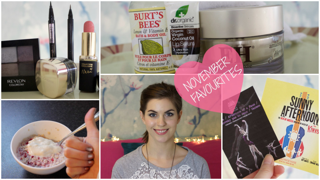 Novmeber skincare, make up, wellbeing, theatre and dance favourites for Nocmeber